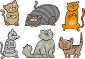 Cute cats set cartoon illustration — Stock Vector