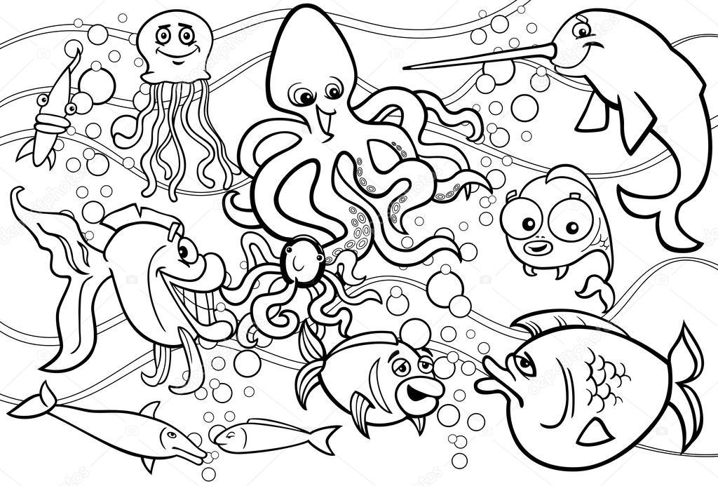 illustrazioni di fumetto bianco e nero del mare divertente vita animali e pesci mascotte. Black Bedroom Furniture Sets. Home Design Ideas
