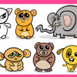 Cute kawaii animals cartoons — Stock Vector