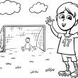 Boy playing soccer coloring page — Stock Vector