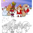 Santa claus group coloring page — Stock Vector #33273767