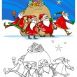 Stock Vector: Santclaus group coloring page