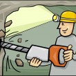 Stock Vector: Miner at work cartoon illustration