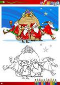 Jultomten grupp målarbok — Stockvektor