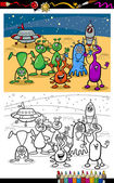 Cartoon ufo aliens group coloring page — Stock Vector
