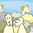 Flock of sheep cartoon illustration — Stockvectorbeeld