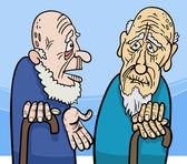 Old men cartoon illustration — Stock vektor