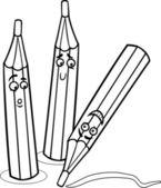 Crayons cartoon illustration coloring page — Stock Vector