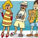 Tourist group cartoon illustration — Stock Vector #33580479