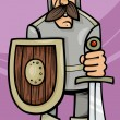 Knight in armor cartoon illustration — Stock Vector