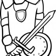 Knight with sword cartoon coloring page — Stock Vector