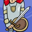 Stock Vector: Knight with sword cartoon illustration