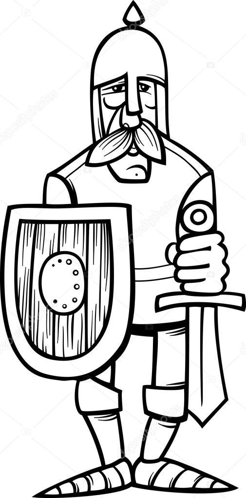 Chevalier en caricature armure coloriage image vectorielle izakowski 33879079 - Dessin armure ...