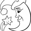 Moon and star christmas coloring page — Stock Vector
