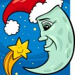 Moon and star christmas cartoon — Stockvektor