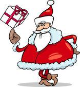 Santa with gift cartoon illustration — Stock Vector