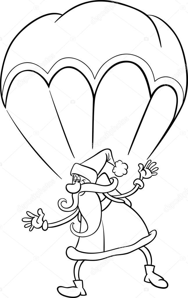Santa sur cartoon parachute coloriage — image vectorielle