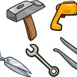 Tools objects cartoon illustration set — Stock Vector