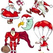 Santa and Christmas Cartoon Set — Stock Vector