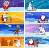 Cartoon Greeting Cards with Santa Claus — Stock Vector