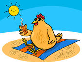 Chicken on the beach cartoon — Stockvektor