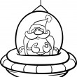 Santa in spaceship coloring page — Stock Vector