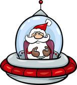 Santa in spaceship cartoon illustration — Stockvector