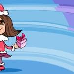 Little girl santa greeting card cartoon — Stock Vector #34812929