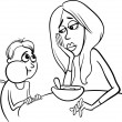 Poor eater black and white cartoon — Image vectorielle