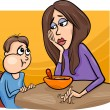 Poor eater boy with mum cartoon — Stock Vector