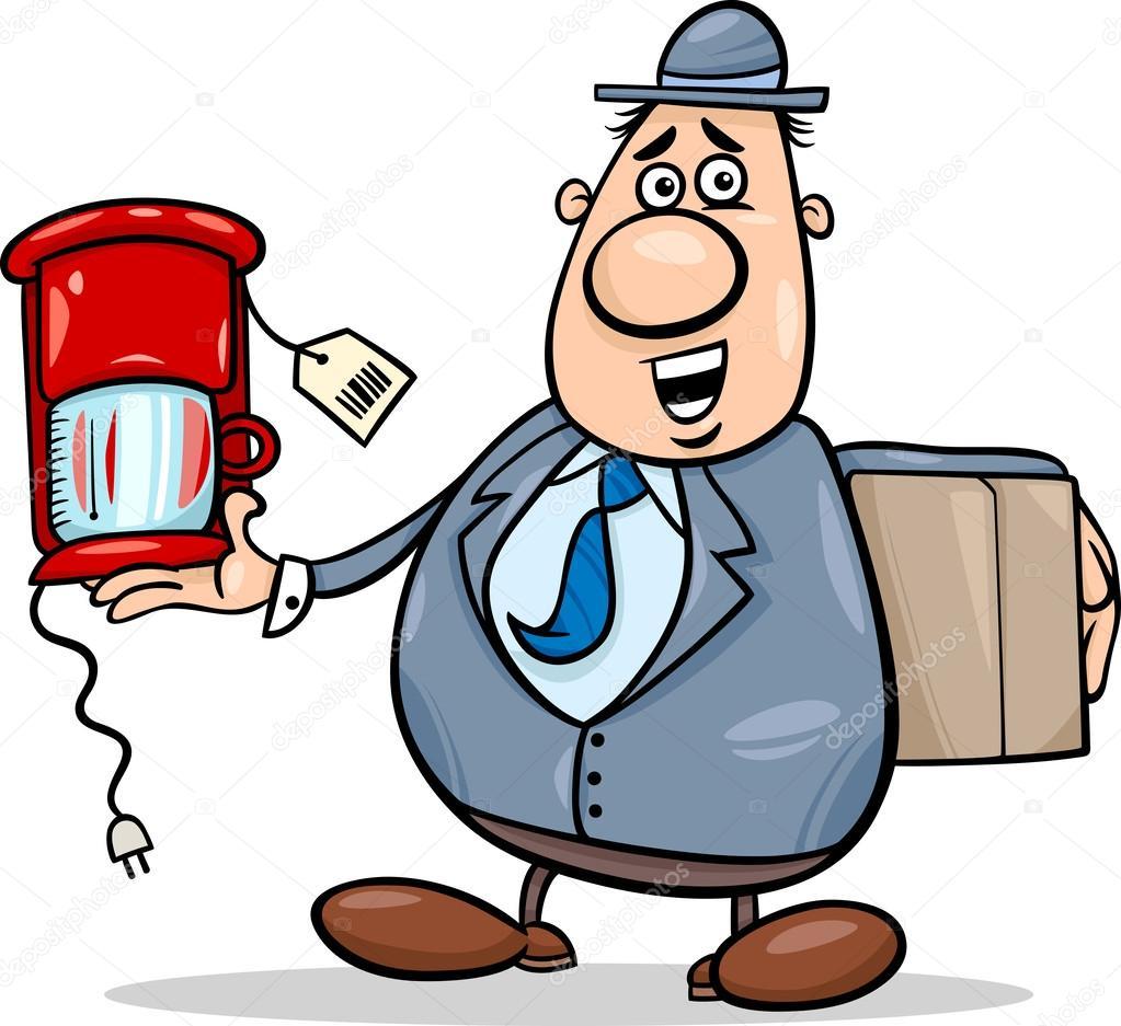 Verkäufer mit Kaffeemaschine cartoon — Stockvektor #34876885 ~ Kaffeemaschine Lustig