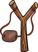 Slingshot clip art cartoon illustration — Stock Vector