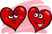 Hearts in love cartoon illustration — Stock Vector