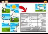 Juego de rompecabezas de dibujos animados cabra — Vector de stock