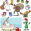Christmas themes cartoon set — Stock Vector