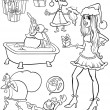 Christmas themes coloring page — Stock Vector
