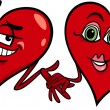 Hearts in love cartoon illustration — Imagen vectorial