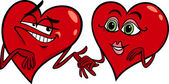 Hearts in love cartoon illustration — Vetor de Stock
