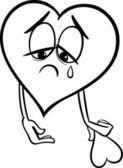 Sad broken heart coloring page — Stock Vector