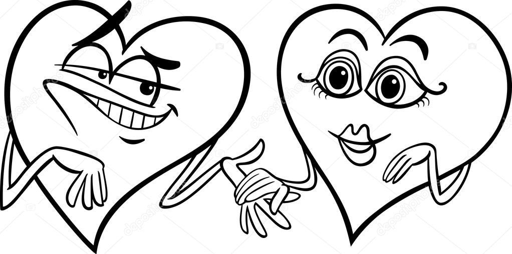 Hjärtan i kärlek tecknade målarbok — Stock Vektor ...