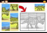 Cartoon dinosaur jigsaw puzzelspel — Stockvector
