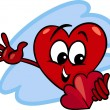 Heart with valentine card cartoon — Vecteur