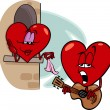 Heart love song cartoon illustration — 图库矢量图片