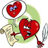 Heart reading love poem cartoon — Stock Vector