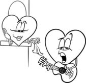 Heart love song cartoon coloring page — Stock Vector