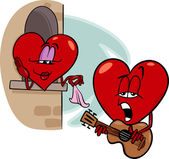 Heart love song cartoon illustration — Stock Vector