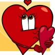 Heart with valentine card cartoon — 图库矢量图片 #35904789