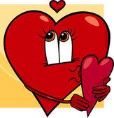 Heart with valentine card cartoon — Stock Vector