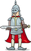 Cavaleiro com ilustração dos desenhos animados de espada — Vetor de Stock