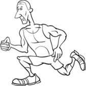 Runner sportsman cartoon coloring page — Stock Vector
